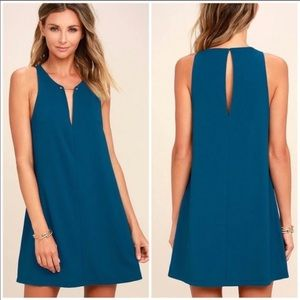 Lulu's Teal Barbell Plunge V-Neck Mini Dress